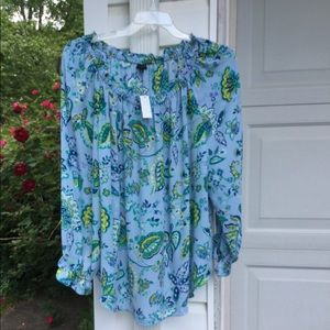 NWT Talbots Blue Peasant Style Multicolored Floral